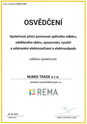 rema-osvedceni-numis-trade-spolecnost-plnici-povinnost-zpetneho-odberu-elektrozarizeni-elektroodpadu
