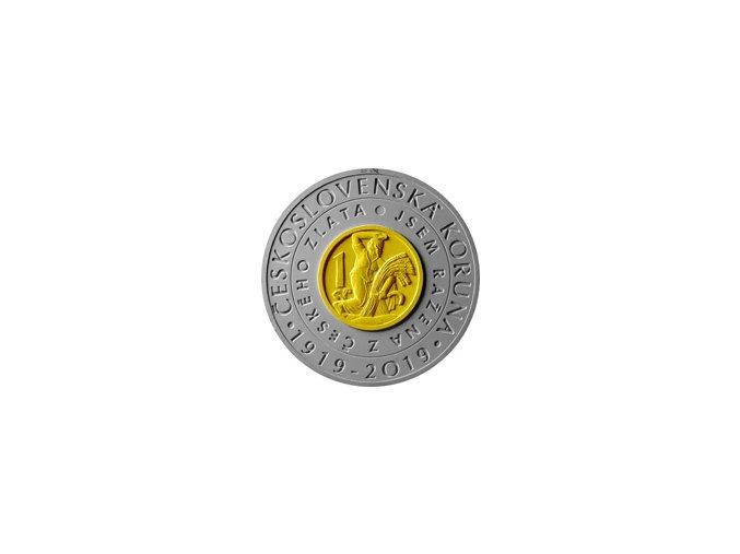 Záloha 2019 2000 Kč Bimetalová pamětní mince 100. výročí zavedení československé měny STANDARD model rub
