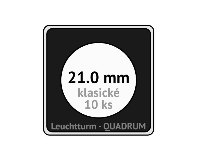 quadrum klasicke hranate kapsle 21 mm na mince ctvercove bublinky mincovni pouzdra 50x50 mm 10ks leuchtturm 309032 lighthouse