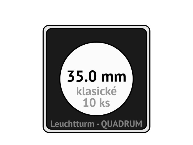 quadrum klasicke hranate kapsle 35 mm na mince ctvercove bublinky mincovni pouzdra 50x50 mm 10ks leuchtturm 334903 lighthouse