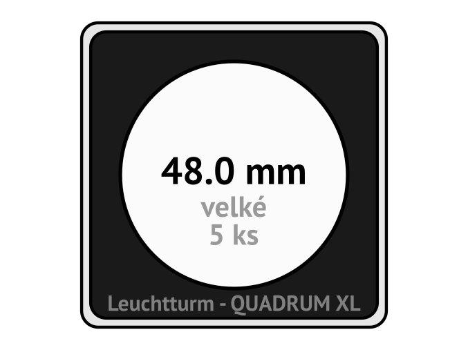 quadrum xl 48 mm pro velke mince medaile ctvercove mincovni kapsle s cernou vlozkou s vyrezem 5 ks leuchtturm 341167 lighthouse