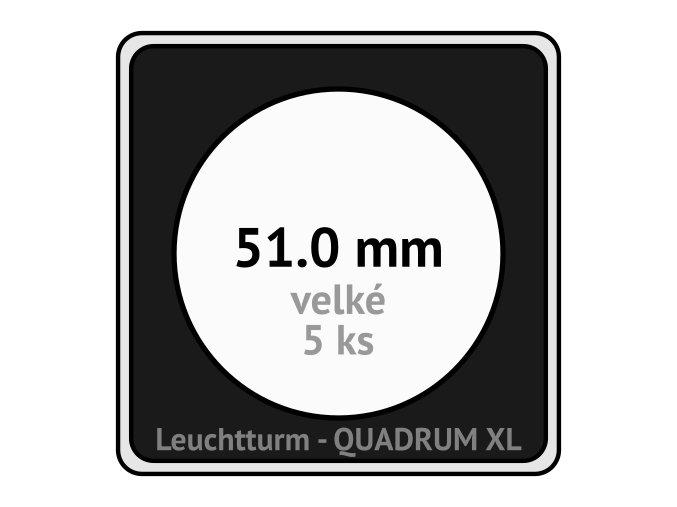 quadrum xl 51 mm pro velke mince medaile ctvercove mincovni kapsle s cernou vlozkou s vyrezem 5 ks leuchtturm 341170 lighthouse