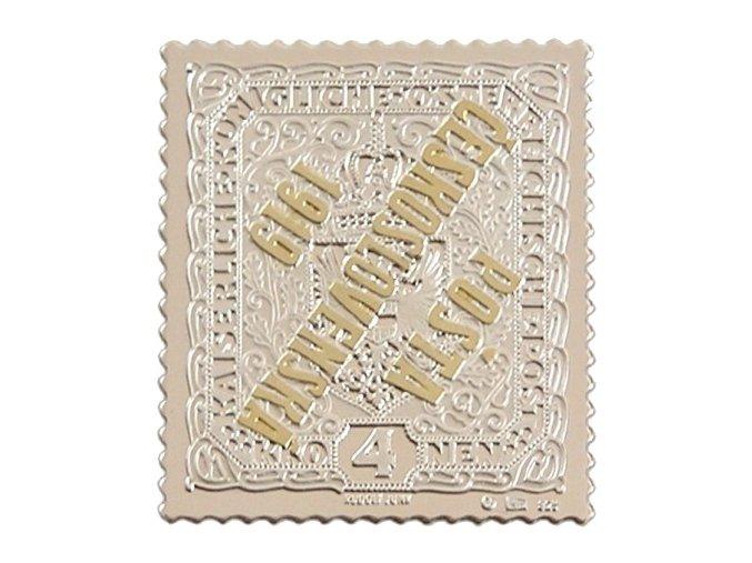 stribrna nejvzacnejsi ceskoslovenska znamka 4 kronen prevraceny pretisk posta ceskoslovenska 1919 ag mincovna kremnica stefan novotny
