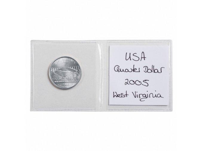dvojite kapsy na mince a popisky pruhledne folie bez zmekcovadel 100ks mincovni obaly leuchtturm 302448 lighthouse