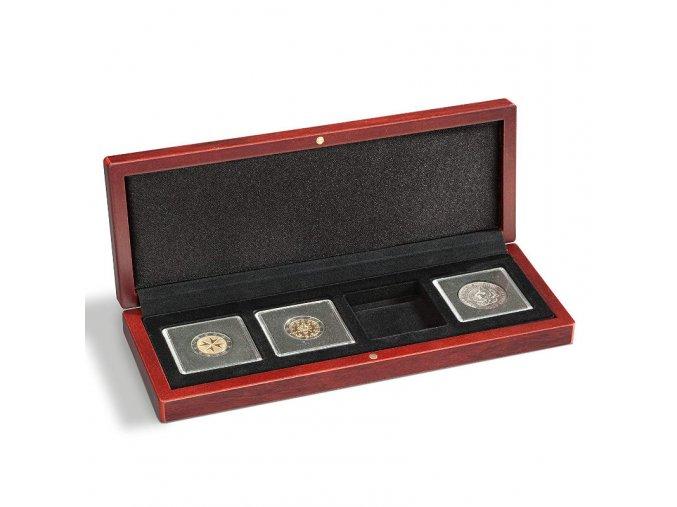 volterra 4 quadrum drevene etue na mince kazeta krabicka na 4 ctvercove kapsle quadrum 50x50 mm leuchtturm 339050 lighthouse