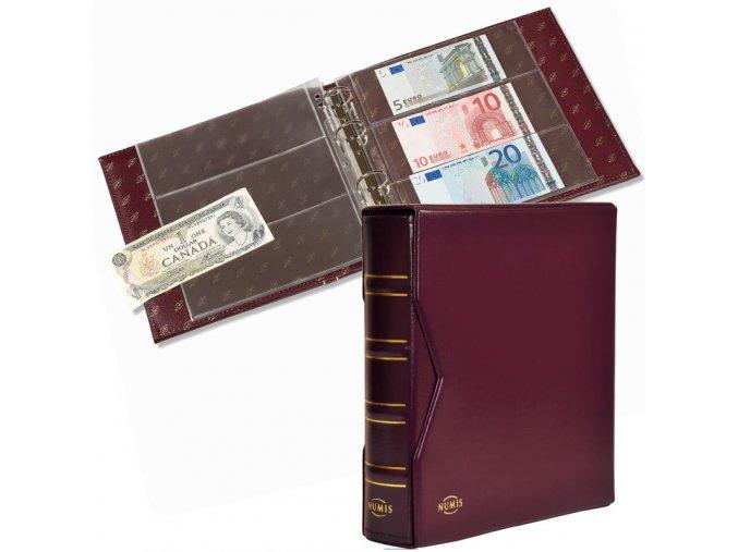 numis classic tmave cervene album na bankovky s kazetou 20 vzorovych listu vinove album na pohlednice pohledy leuchtturm 330619 lighthouse