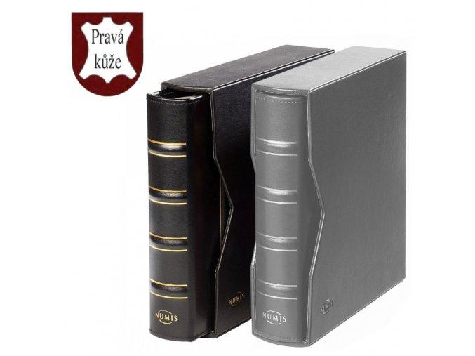 cerne desky numis classic z prave kuze kozene cerne album s kazetou na mince bankovky znamky pohlednice leuchtturm 320592 lighthouse