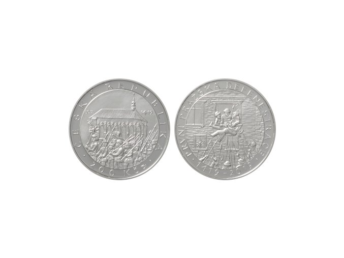 2019 200 kc stribrna pametni mince prvni prazska defenestrace 600 vyroci ag proof
