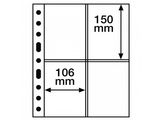 pruhledne albove listy grande 2ct 4 kapsy na pohledy do 106x150 mm leuchtturm 337553 lighthouse