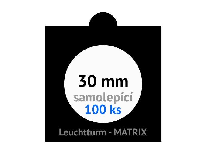 matrix cerne samolepici mincovni ramecky na mince prumer 30 mm baleni 100 ks 5x5 cm leuchtturm 361065