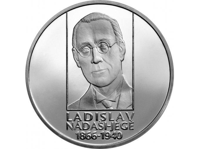 Slovenská pamětní stříbrná mince v hodnotě 10 EUR k 150. výročí narození Ladislava Nádaši-Jégého.