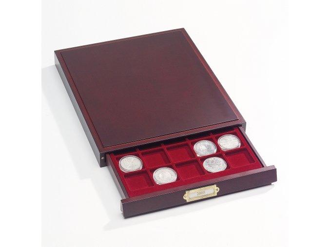 LIGNUM stohovatelný mincovní box - verze na 20 čtvercových kapslí / kart. rámečků 50x50 mm / mincí do Ø 50 mm - Leuchtturm 323232