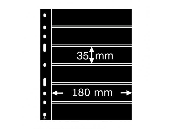 cerne albove listy optima 6s 6 vodorovnych kapes na znamky do 180x35mm obaly optima folie leuchtturm 316995 lighthouse