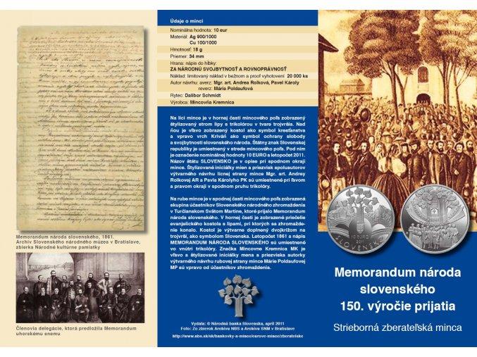 letak strieborna zberatelska minca memorandum naroda slovenskeho 150 vyrocie prijatia 10 eur 2011 predni strana