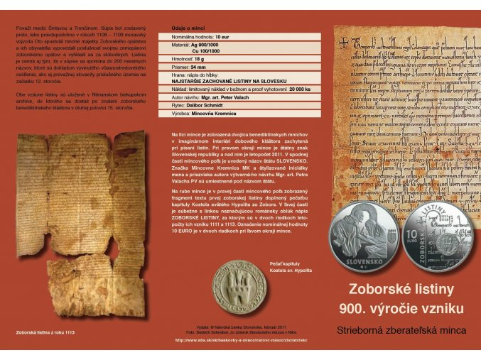letak strieborna zberatelska minca zoborske listiny 900 vyrocie 10 eur 2011 predni strana