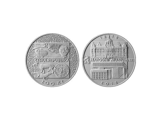 2018 200 kc stribrna pametni mince 200 vyroci zalozeni narodniho muzea petr horak umelecky navrh