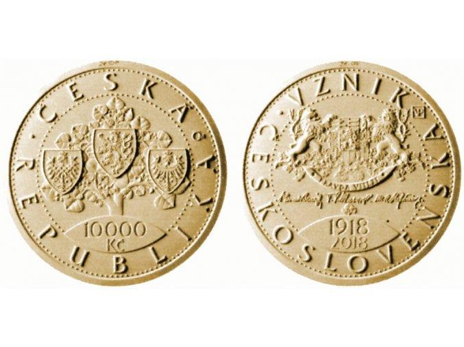 2018 10000 kc zlata pametni mince vznik ceskoslovenska 100 vyroci vladimir pavlica umelecky navrh mimoradne razby 2016 2020