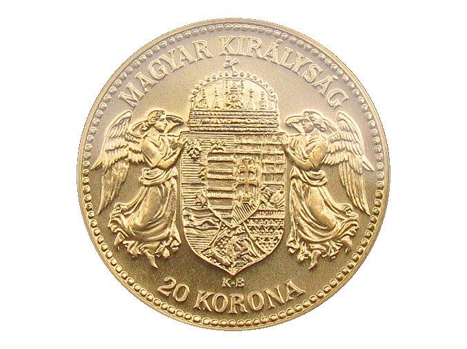 zlata replika 20 koruna Karel I. 1918 KB Au mince rub
