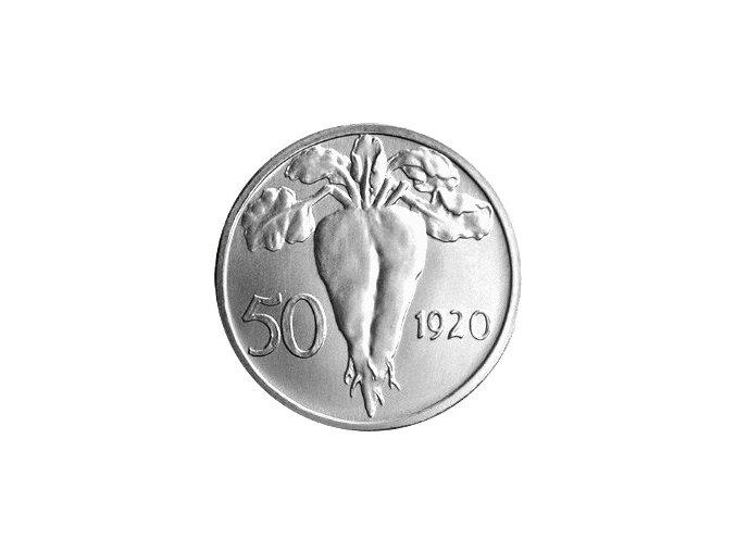 stribrna medaile 50 stotin 1920 novorazba zkusebniho odrazku rub