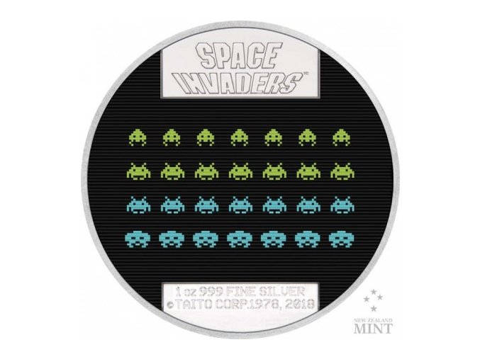 stribrna sberatelska mince space invaders 2018 2 nzd new zealand mint proof