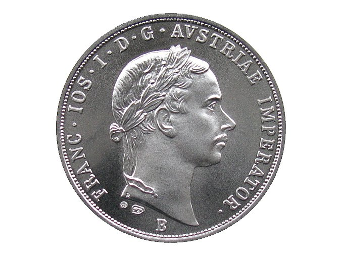 stribrna replika pultolar zlatnik 1853 Frantisek Josef I. ag KB lic