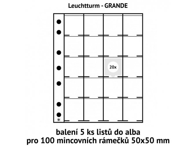baleni listy 5ks obal do alba grande folie pro 100ks mincovni ramecky 50x50mm leuchtturm 324851 lighthouse