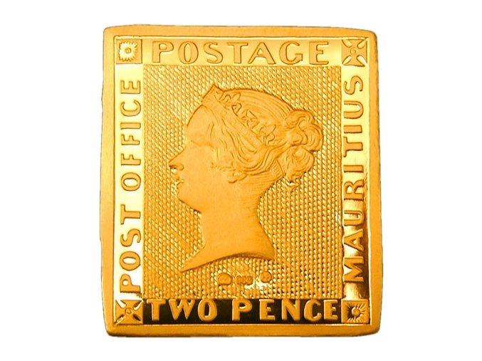 Zlatá plaketa s motivem známky Modrý Mauricius ražena v Kremnické mincovně.