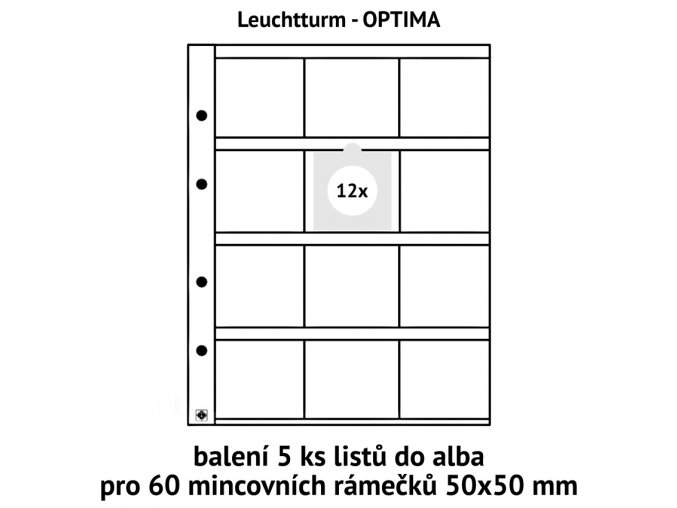 baleni listy 5ks obal do alba optima folie pro 60ks mincovni ramecky 50x50mm leuchtturm 309197 lighthouse