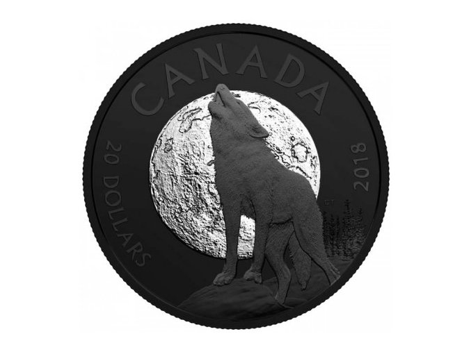 stribrna mince vyjici vlk howling wolf noctural by nature 2018 20cad 1oz royal canadian mint proof