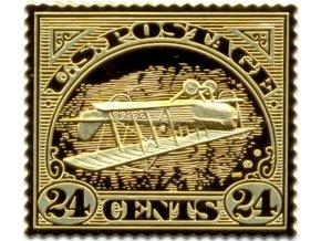 gold au inverted jenny znamka obracena jenny prevracena zlata plaketa mincovna kremica kb pavel karoly numismatikasova.cz