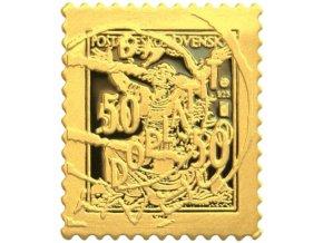zlata znamka osvobozena republika chybotisk 50 50 au plaketa mincovna kremica kb stefan novotny numismatikasova.cz