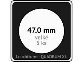 quadrum xl 47 mm pro velke mince medaile ctvercove mincovni kapsle s cernou vlozkou s vyrezem 5 ks leuchtturm 341166 lighthouse
