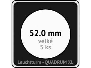 quadrum xl 52 mm pro velke mince medaile ctvercove mincovni kapsle s cernou vlozkou s vyrezem 5 ks leuchtturm 341171 lighthouse