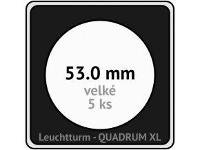 quadrum xl 53 mm pro velke mince medaile ctvercove mincovni kapsle s cernou vlozkou s vyrezem 5 ks leuchtturm 341172 lighthouse