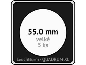 quadrum xl 55 mm pro velke mince medaile ctvercove mincovni kapsle s cernou vlozkou s vyrezem 5 ks leuchtturm 341174 lighthouse