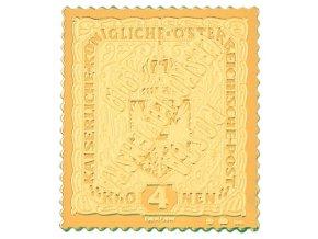 zlata nejvzacnejsi ceskoslovenska znamka 4 kronen prevraceny pretisk posta ceskoslovenska 1919 au mincovna kremnica stefan novotny