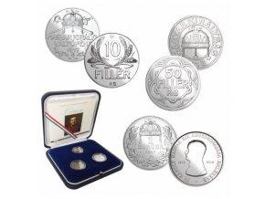 sada stribrnych minci 10 filler 1917 50 filler 1918 1 korona 1917 karel iv 100 vyroci korunovace madarsky kral