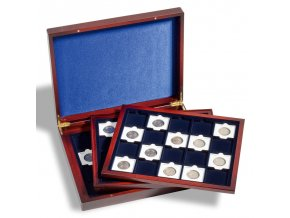volterra trio de luxe quadrum drevena kazeta na mince mahagon etue krabicka pro 60 ctvercovych kapsli kartonove ramecky 50x50mm leuchtturm 304747 lighthouse