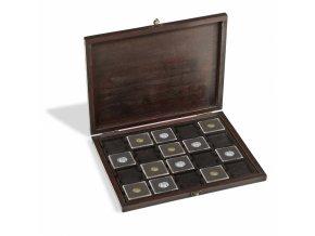 drevena kazeta rustika 20 quadrum etue na mince krabicka pro 60 ctvercovych kapsli kartonove ramecky papirove volne mince leuchtturm 355169 lighthouse