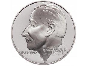 Slovenská pamětní stříbrná mince v hodnotě 200 Sk k 80. výročí narození Alexandra Dubčeka.