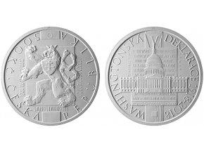 2018 500 kc stribrna pametni mince prijeti washingtonske deklarace 100 vyroci jakub orava umelecky navrh