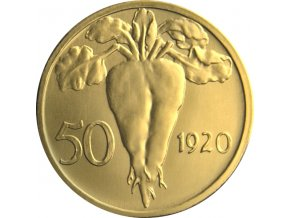 zlata medaile 50 stotin 1920 novorazba zkusebniho odrazku rub