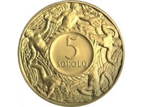 zlata medaile 5 sokolu 1920 novorazba zkusebniho odrazku rub
