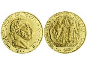2017 zlata medaile novorazba frantisek jozef i 100 korona 1907 kb 34 26 g 0 900 au mincovna kremnica