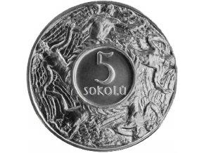 stribrna medaile 5 sokolu 1920 novorazba zkusebniho odrazku Ag kremnica rub