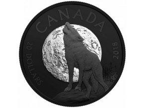 stribrna mince vyjici vlk howling wolf noctural by nature 2018 20cad 1oz royal canadian mint proof