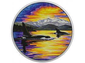 stribrna mince kosatky ve svitu mesice animals in the moonlight orcas 2017 30cad 2oz royal canadian mint proof