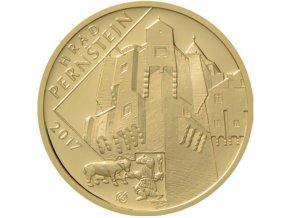 rub zlate pametni mince hrad pernstejn proof 2017 5000 kc cyklus hrady ceske republiky