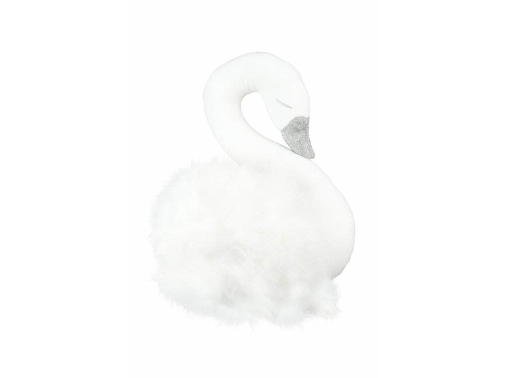 Dekoračná labuť na stenu biela