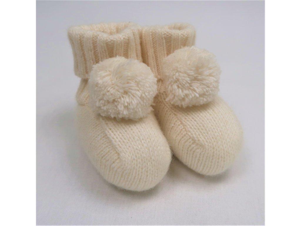 Nanán pletené papučky krémové